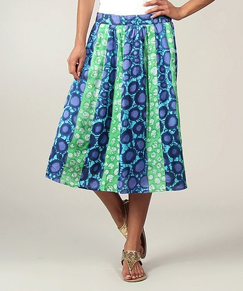 Blue & Green Circle Peasant Skirt