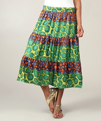Green & Yellow Circle Peasant Skirt