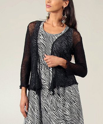 Black Textured Ruffle Cardigan - Women & Plus