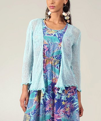 Ice Textured Ruffle Open Cardigan