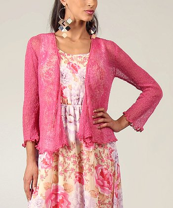 Raspberry Sheer Open Cardigan - Plus