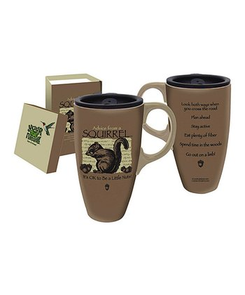 Squirrel Advice 17-Oz. Ceramic Travel Mug