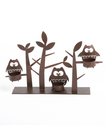Owl & Tree Decorative Candleholder