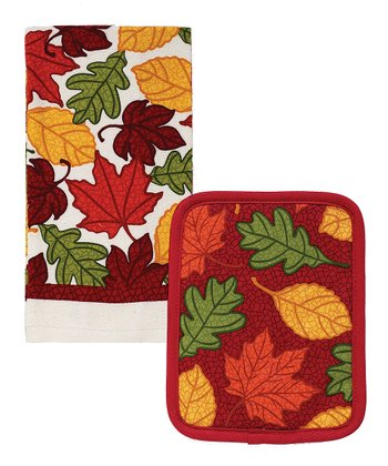 Autumn Crackle Kitchen Towel & Pot Holder Set