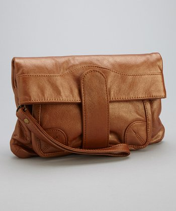 Metallic Copper Ella Foldover Wristlet