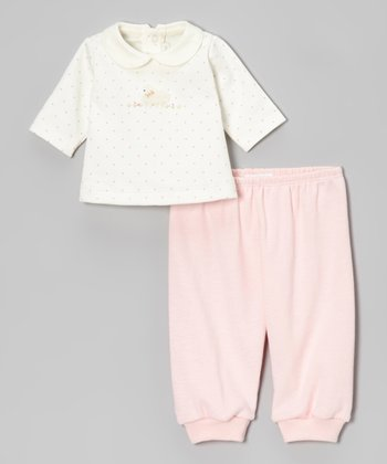 Off-White Dot Lamb Top & Pink Pants - Infant