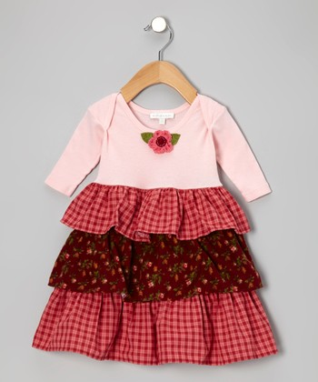 Pink & Burgundy Tiered Lap Neck Dress - Infant