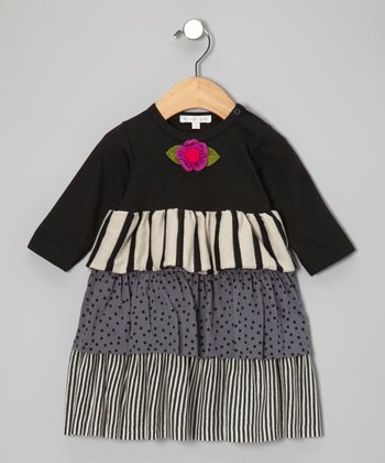 Black & Khaki Tiered Dress - Infant & Toddler