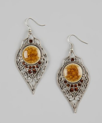 Orange & Silver Inverted Teardrop Earrings
