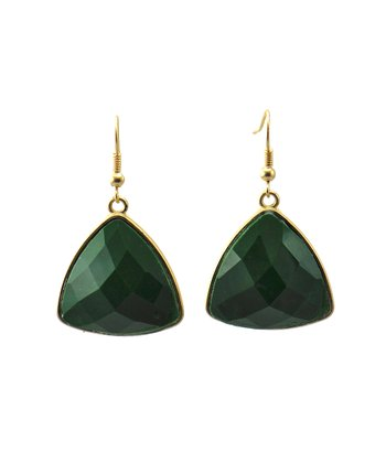 Green & Matte Gold Triangle Earrings