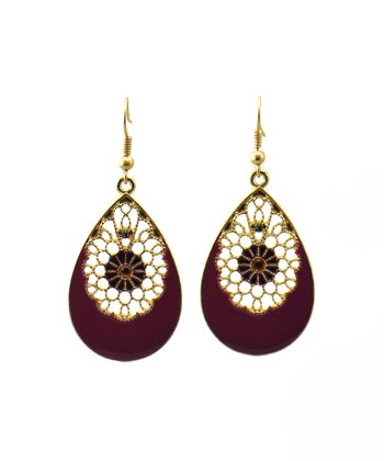 Purple & Matte Gold Filigree Earrings