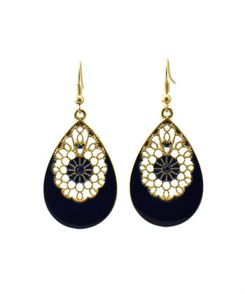 Navy & Matte Gold Filigree Earrings