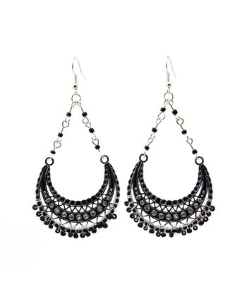 Black & Silver Bead Teardrop Earrings