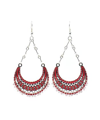 Coral & Silver Bead Teardrop Earrings