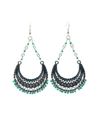 Turquoise & Silver Bead Teardrop Earrings