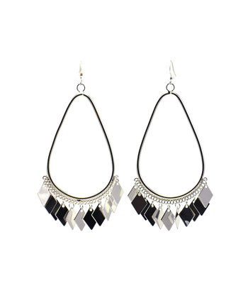 Silver Tone Large Teardrop Earrings