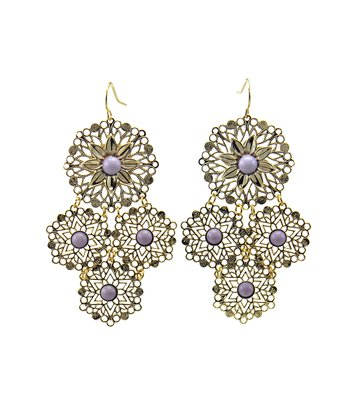 Lavender & Gold Filigree Floral Disc Earrings