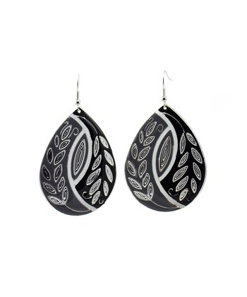 Black & Gray Pattern Teardrop Earrings