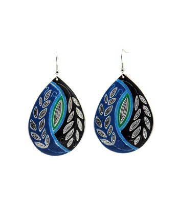 Blue & Green Pattern Teardrop Earrings