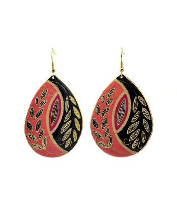 Coral & Black Pattern Teardrop Earrings