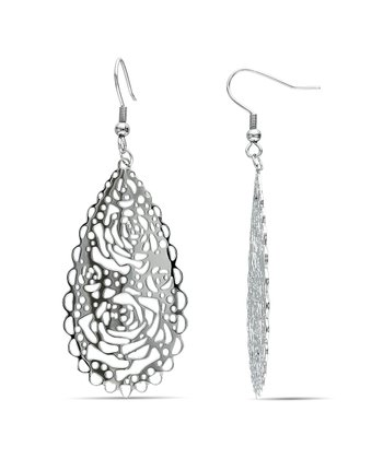 Silver Cutout Rose Earrings