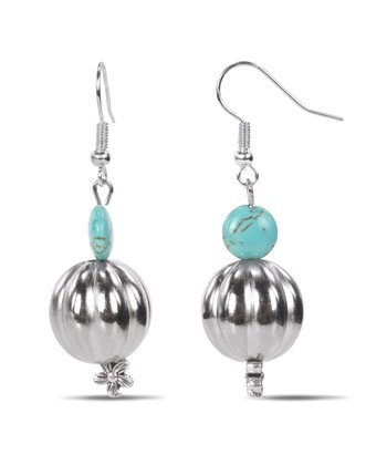 Turquoise & Silver Corrugated Bead Earrings