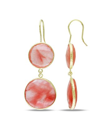 Cherry Quartz & Gold Tiered Circle Earrings
