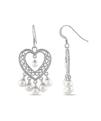 Pearl & Silver Heart Chandelier Earrings