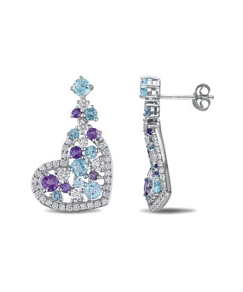 Topaz & Amethyst Silver Heart Earrings