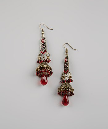 Red Narrow Moroccan Earrings