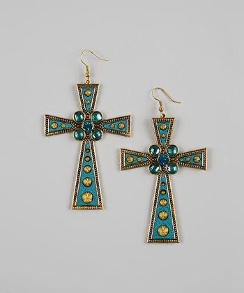 Turquoise Bead & Gold Cross Earrings
