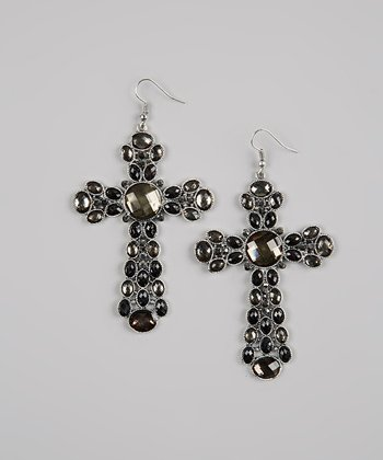 Black & Gray Beaded Cross Earrings