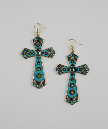 Turquoise Glass Beaded Cross Earrings