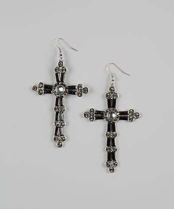Black Beaded Cross Earrings