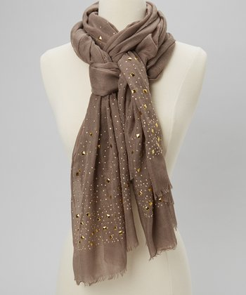 Tan & Gold Stud Scarf