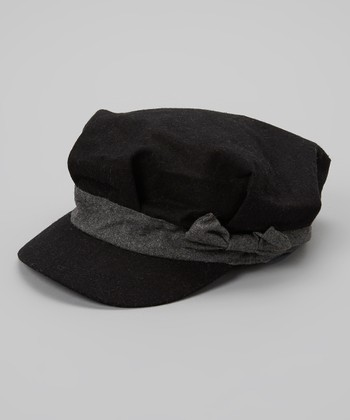 Black & Gray Bow Newsboy Cap