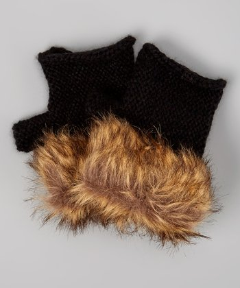 Black Faux Fur Fingerless Gloves