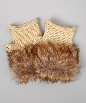Natural Faux Fur Fingerless Gloves