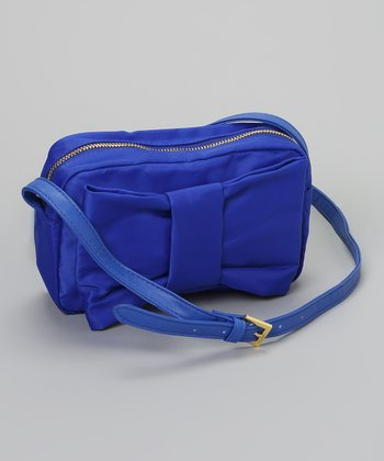Blue Puffed Bow Crossbody Bag