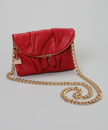 Red Fold-Over Clutch