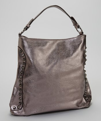 Pewter Metallic Stud Hobo