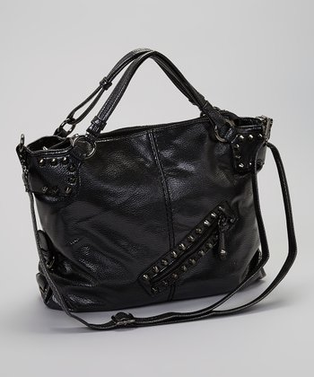 Black Metallic Vegan Leather Satchel