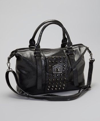 Black Metallic Stud Satchel