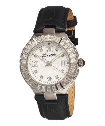 Silver & Black Evelyn Watch