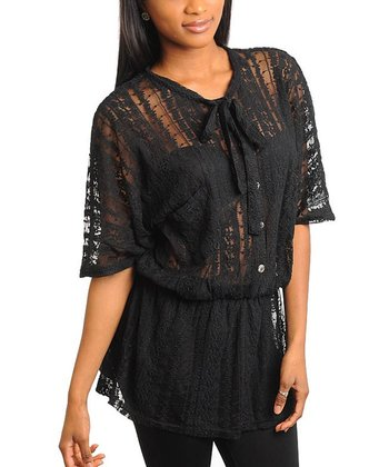 Black Lace Button-Up Tunic