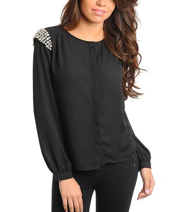 Black Embellished Shoulder Top