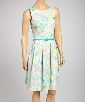 Green & Yellow Floral Belted Dress