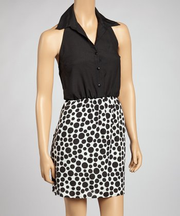 Ivory & Black Dot Halter Dress