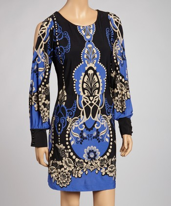 Black & Blue Floral Cutout Dress