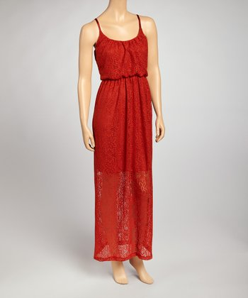 Rust Lace Maxi Dress
